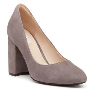 Gray Suede Leather Almond Toe Block Heels